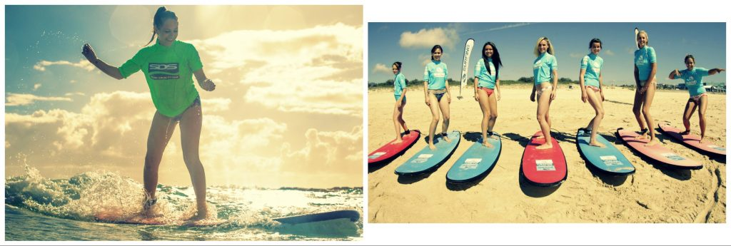 ladies learn to surf