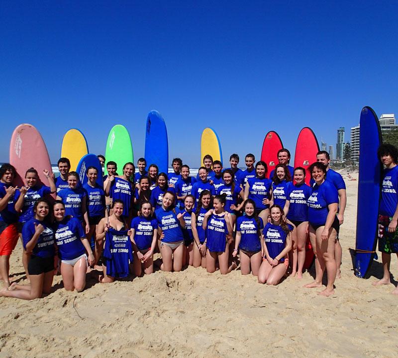 School Groups Surfing